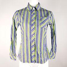 Monterey Bay Women's Button Down Top Size 6 Petite Purple Green Striped Shirt