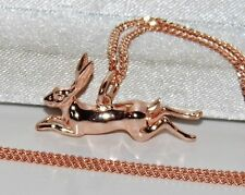 9ct Rose Gold on Silver Leaping Hare Pendant Necklace - With or Without Chain