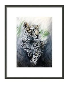 Green Leopard Giclee print, from my original painting, limited edition,wall art