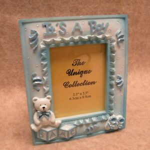 """It's A Boy Blue Resin Picture Frame & Planter Pot Combo Gift Present 2.5 X 3.5"""""""