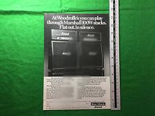 Anuncio para Woodroffe's de Birmingham Marshall Pila 100 W de 1977
