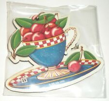 Rare 1996 Mary Engelbreit Wood Die-cut Cherries in Teacup Christmas Ornament New