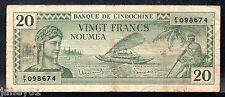 NEW CALEDONIA  20 Francs Banknote - P49 - 1940's - Noumea