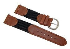 19mm Brown/Black Leather/Nylon Watch Strap/ Watch Band Fits Swiss Army