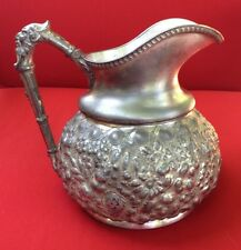 Antique Reed & Barton Water Pitcher With Scary Face Handle Silver Plated 428