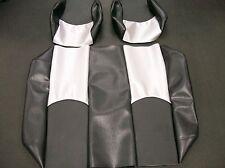 Yamaha G22 Golf Cart Custom Vinyl Seat Covers-Staple On(Black/Black&Silver Cf)