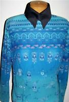 Turquoise Silver Exotic Repeating Print Triple Mesh Stretch Fabric By the Yard