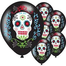 Halloween Day Of Dead  Skull Coco Party Latex Balloons HELIUM AIRFILL x 6