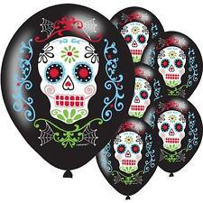 6 X Halloween Day of Dead Balloons Black Party Balloon Decoration Sugar Skull