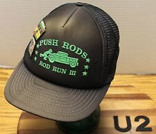 "PUSH RODS ""ROD RUN III"" HAT WITH ""END OF THE WORLD ROD RUN"" HAT PINS VGC   U2"