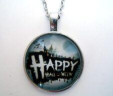 Médaillon vintage + chaine collier-Halloween /Medallion + chain necklace