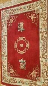 3 x 5 Red Hand Tufted peking Wool