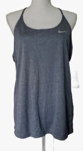 Nike Women's Dry Miler Armory Blue Heather Gray Running Tank 831522 Size XL