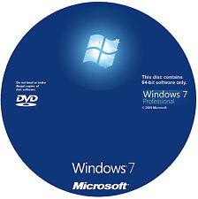 Windows 7 Installation Install Reinstall DVD Disc Professional 64 bit only + key