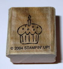 Cupcake Candle Rubber Stamp Birthday Stampin' Up! EUC Retired Dessert Sweets