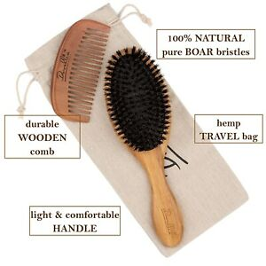Boar Bristle Hair Brush Set Women Men Designed Thin & Normal Add Shine Wood Comb
