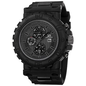 Men's Joshua & Sons JS89BK Swiss Multifunction Dual Time Black Silicone Watch