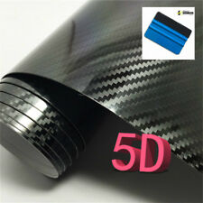 Rotolo pellicola effetto carbonio LUCIDO 5D adesivo auto 50x200cm con spatola 3M