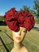Red And Black Headwrap; Red African Headwrap; African Clothing; African Fabric
