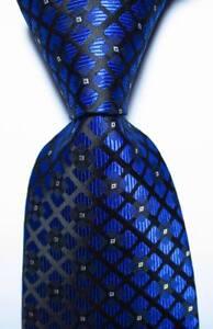 New Classic Checks Blue Black White JACQUARD WOVEN 100% Silk Men's Tie Necktie
