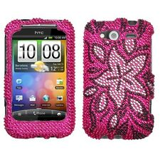 Tasteful Flowers Crystal Diamond BLING Hard Case Phone Cover for HTC Wildfire S