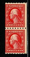 [FE]    US #411 ~ MNH 1912 2c Carmine ~ Perf 8.5 Hor. SL Wmk Coil Pair