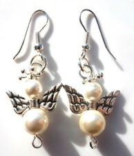 Gorgeous Handmade Pearl Guardian Angel Earrings with Swarovski With Gift Bag