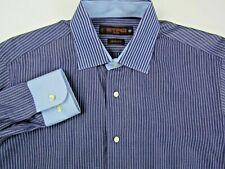 ETRO Milano Men's Sz 40 Slim Button Front Dress Shirt Blue Striped Designer