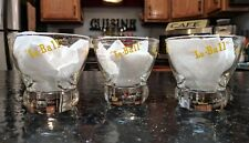 EVA ZEISEL Prestige Federal Yellow Decal LO-BALL Cocktail Glasses 3 Mid Century