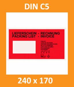 250 Lieferscheintaschen Begleitpapiertaschen DIN C5 - 240 x 170 mm - TOP