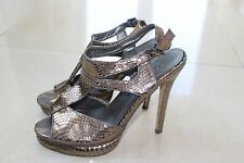 Women's silver party shoes, stiletto heel, peep toe mules, UK 5