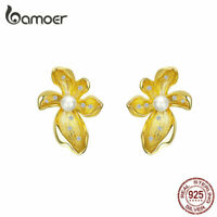BAMOER Women Gold Earrings 925 Sterling silver lover flower With Pearl Jewelry