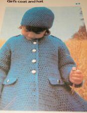 "Girl's Toddler Coat Hat Quick 'n Easy Crochet pattern Size 3 5 7 Chest 22""-26"""