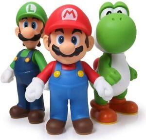 """Super Mario Bros Luigi & Yoshi & Mario 5"""" Action Figures Birthday Gift Toys Set"""