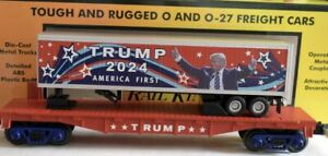✅MTH RAILKING DONALD J TRUMP 2024 PRESIDENT FLAT CAR W/ TRAILER! O GAUGE TRAIN