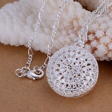 New Women 925 Sterling Silver Chain Girl Beautiful Necklace With Pendant Box ~
