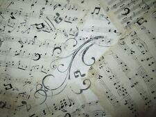 SHEET MUSIC NATURAL SWIRLS WHITE BACKGROUND COTTON FABRIC BTHY