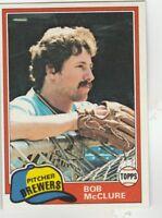 FREE SHIPPING-MINT-1981 Topps #156 Bob McClure Milwaukee Brewers Baseball Card