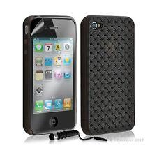 Housse étui coque souple tressée transparent pour Apple Iphone 4/4S couleur noir