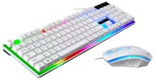Gaming Keyboard Mouse Set Rainbow Led Backlit Wired Usb White For Pc Laptop Us