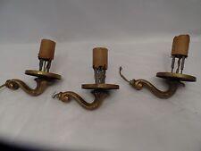 Antique Brass Art Nouveau Wall Light Fixture Set of 3