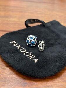 Genuine Pandora Silver Charm Bundle Retired Cubic Zirconia Infinity Spacer Bead