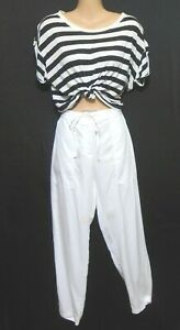Trenery white tapered pants with draw string waist, sz. 12-14, NWOT