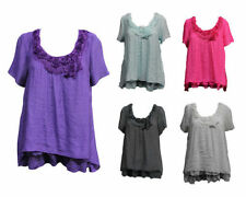 Rayon Short Sleeve Hand-wash Only Plus Size Tops for Women