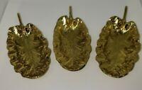 Vintage Set Of 3 Brass Sandcast Primrose Leaves