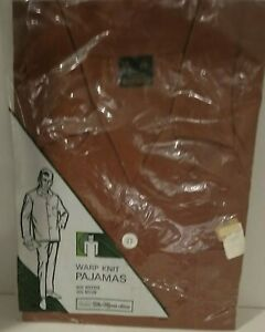 NEW Vintage Sears The Mens Store Warp Knit Pajamas Brown Large Long Sleeve Pant