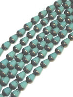 12 Czech Glass Capri Blue Window Cut Travertine Teardrop Beads 15x12mm