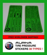 ALPINA tire pressure sticker inflation BMW Reifendruck-Aufkleber tyre E39 E38