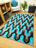 New Small Extra Large Black Teal Blue Grey Soft Thick Carved Floor Rugs Runner