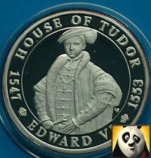 2003 Turks e Caicos 20 CORONE House of Tudor Edward vi SILVER PROOF COIN